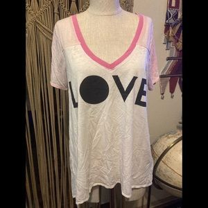 Chaser Burnout Love V Neck Tee Shirt Top S